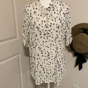 😜🏷Siren Lily see through bird printed blouse